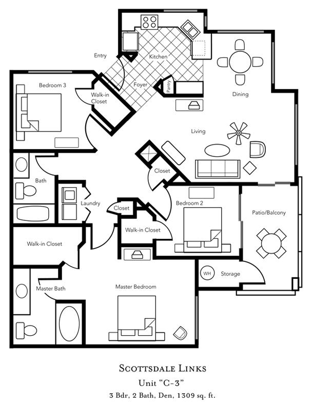 Arizona phoenix scottsdale scottsdale links resort condo vacation rentals for Scottsdale 2 bedroom suite hotels